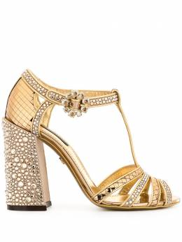 Dolce&Gabbana босоножки с кристаллами и Т-образным ремешком CR0875AJ188