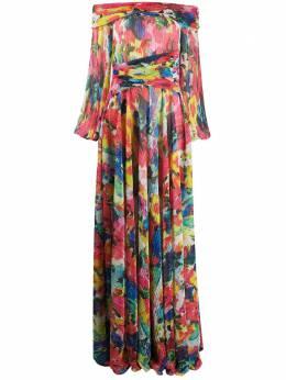 Talbot Runhof платье с цветочным принтом и эффектом металлик BONTON1FK80