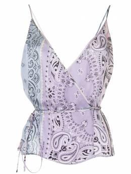 Amiri блузка с принтом пейсли и завязками Y0W10298SCLAVENDAR