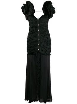 Alessandra Rich платье со сборками и оборками на рукавах FAB2122F2830