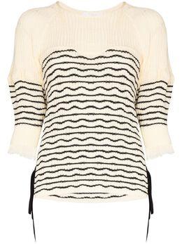 Chloe свитер в полоску с завязками CHC20UMP10560