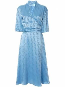 Off-White жаккардовое платье миди с логотипом OWDB219R20C860683100