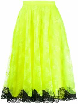 Christopher Kane кружевная юбка миди SS20SK1287CHANTILLYLACENEONYELLOW