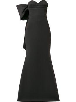 Badgley Mischka платье асимметричного кроя с бантом EG2975