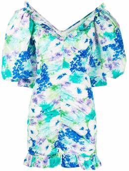 Alessandra Rich платье со сборками и цветочным принтом FAB2009F2780