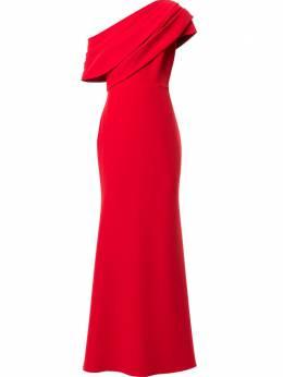 Badgley Mischka платье на одно плечо с драпировкой EG3004