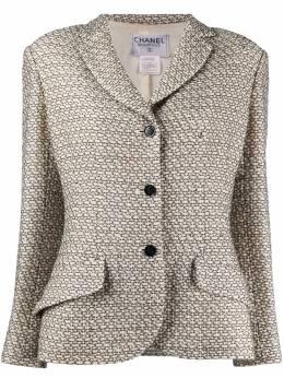 Chanel Pre-Owned фактурный пиджак с геометричным узором CHANELJACKETWHITE