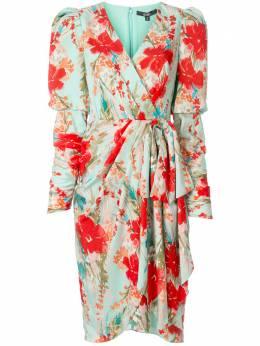 Badgley Mischka платье с запахом и цветочным принтом SC2514