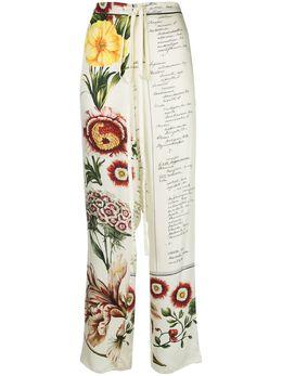 Oscar De La Renta брюки с принтом Floral Calligraphy 20RN327FKTECM