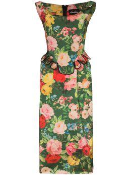 Richard Quinn платье миди с баской и цветочным принтом RQSS2019