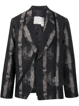 A-Cold-Wall* полосатый пиджак асимметричного кроя MH001WHLBL