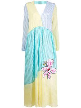 Mira Mikati платье в клетку гингем в стиле колор-блок DRE056MULTI