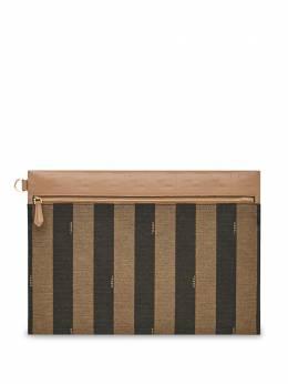 Fendi полосатый клатч среднего размера с монограммой 7N0109ABGW