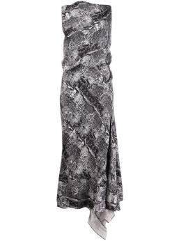 Maticevski платье со змеиным принтом и драпировкой DR4504