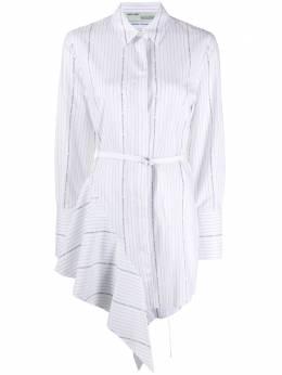 Off-White полосатое платье с поясом и драпировкой OWDB216R20H381220110