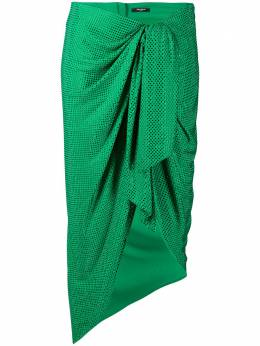 Balmain юбка миди с оборками и узором в горох TF04622V114