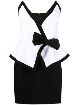 Alessandra Rich двухцветное платье мини без бретелей FAB2135F2333