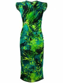 Versace платье без рукавов с принтом и сборками A86987A234714
