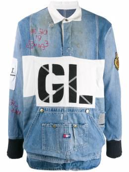 Greg Lauren джинсовая рубашка с эффектом потертости M001M