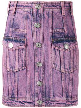 Balmain юбка из вареного денима TF04013D026