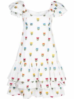 Carolina Herrera платье с цветочной вышивкой и оборками R2011N535FPS