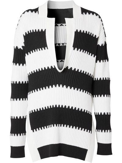 Burberry полосатый джемпер с разрезами по бокам 4559721 - 1