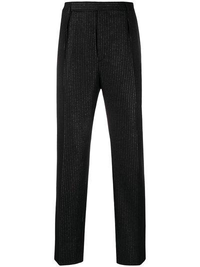 Saint Laurent брюки строгого кроя из ткани ламе 596936Y1A89 - 1