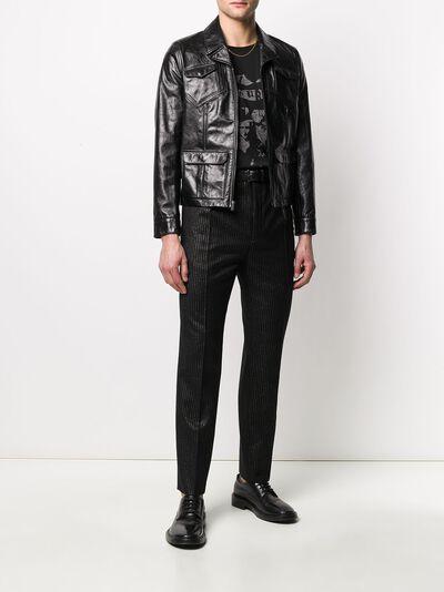 Saint Laurent брюки строгого кроя из ткани ламе 596936Y1A89 - 2