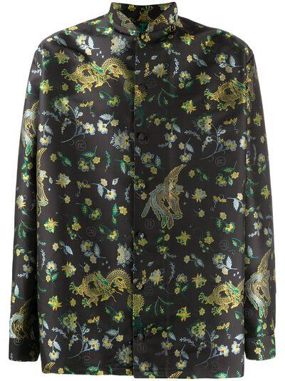 Martine Rose рубашка с воротником-стойкой и цветочным принтом MRSS20421SBLACKBIRD - 1