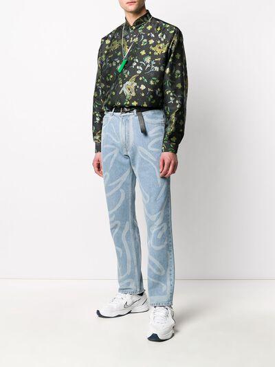 Martine Rose рубашка с воротником-стойкой и цветочным принтом MRSS20421SBLACKBIRD - 2