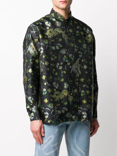 Martine Rose рубашка с воротником-стойкой и цветочным принтом MRSS20421SBLACKBIRD - 3