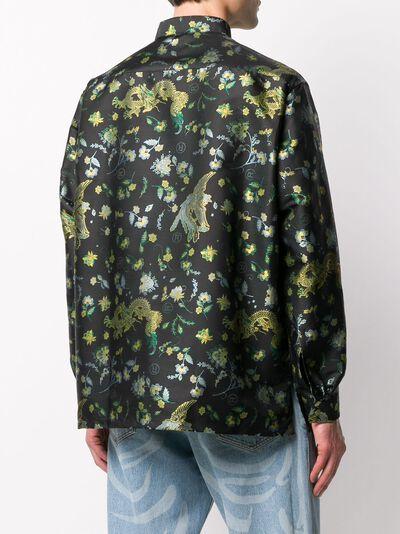 Martine Rose рубашка с воротником-стойкой и цветочным принтом MRSS20421SBLACKBIRD - 4