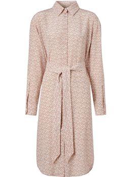Burberry платье-рубашка из крепдешина с принтом 8028961