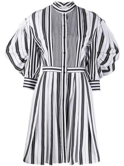 Alexander McQueen полосатое платье-рубашка с пышными рукавами 620609QZABF - 1