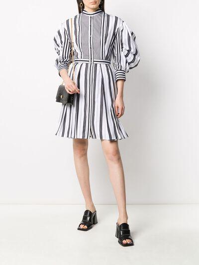 Alexander McQueen полосатое платье-рубашка с пышными рукавами 620609QZABF - 2