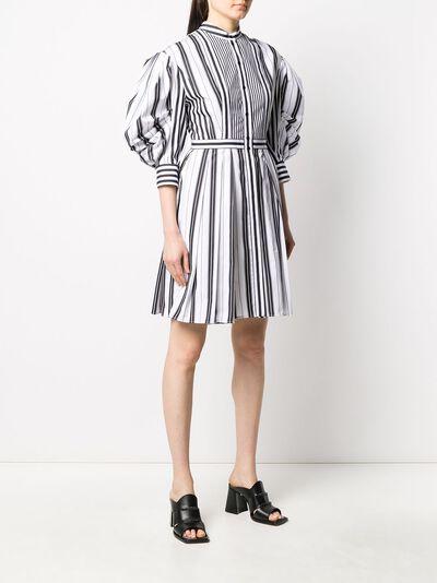 Alexander McQueen полосатое платье-рубашка с пышными рукавами 620609QZABF - 3