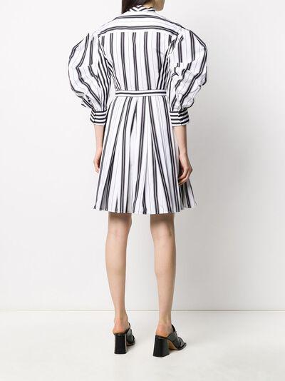 Alexander McQueen полосатое платье-рубашка с пышными рукавами 620609QZABF - 4