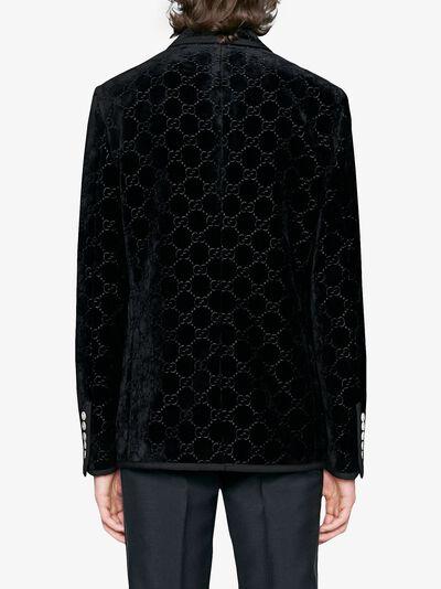 Gucci бархатный пиджак 'Palma' с узором GG 522513Z402L - 4