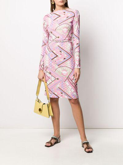 Emilio Pucci платье с абстрактным принтом и поясом 0HJH420H737 - 2