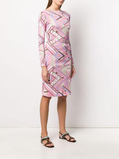 Emilio Pucci платье с абстрактным принтом и поясом 0HJH420H737 - 3