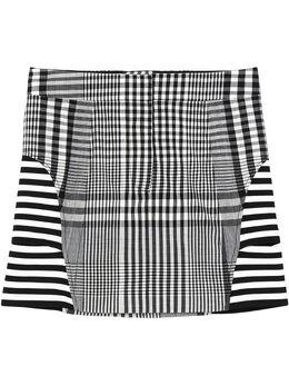 Burberry клетчатая юбка мини со вставками в полоску 4564501