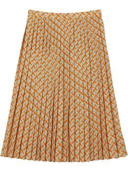 Burberry плиссированная юбка с монограммой 8025809