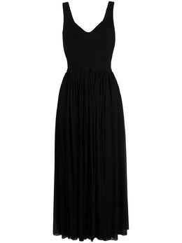 Alexander McQueen длинное платье в рубчик с V-образным вырезом 610262QLAAD
