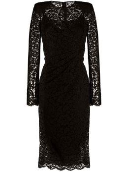 Dolce&Gabbana кружевное платье миди со сборками F6F9TTFLM33