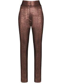 Dolce&Gabbana брюки из ткани ламе с завышенной талией FTBADTFURIO