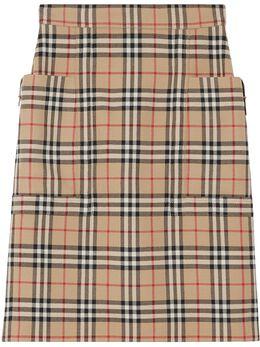 Burberry юбка-карандаш в клетку Vintage Check с карманом 8018657
