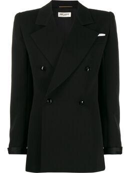 Saint Laurent двубортный пиджак с объемными плечами 588394Y806V