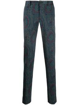 Etro брюки строгого кроя с принтом пейсли 1W0004002