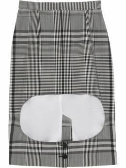 Burberry клетчатая юбка с вырезом 4564360