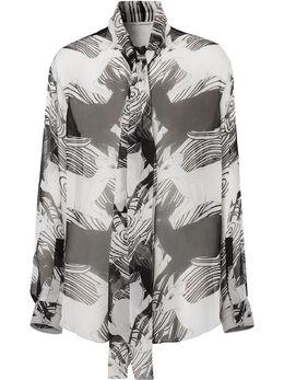 Burberry блузка с бантом и принтом 4564531